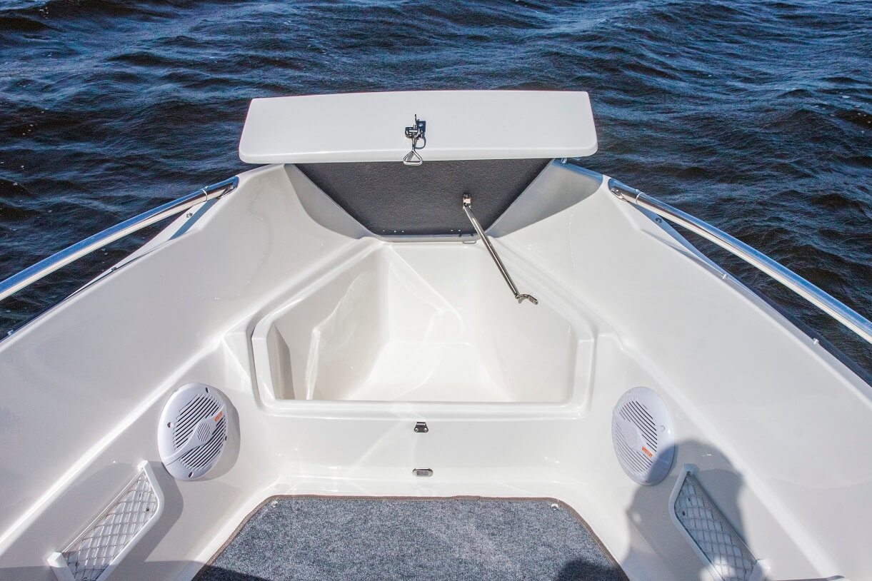 Bow front seat with storage locker